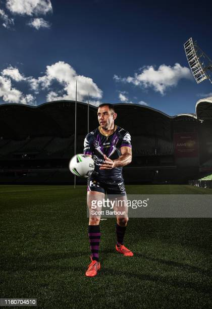 Cameron Smith of the Storm poses during a Melbourne Storm media opportunity at AAMI Park on July 08 2019 in Melbourne Australia Smith will pay his...