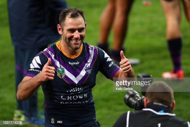 Cameron Smith of the Storm poses for a portrait with a photographer during the NRL Preliminary Final match between the Melbourne Storm and the...