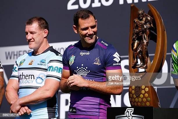 Cameron Smith of the Storm reacts during the 2016 NRL Finals series launch at Allianz Stadium on September 5 2016 in Sydney Australia