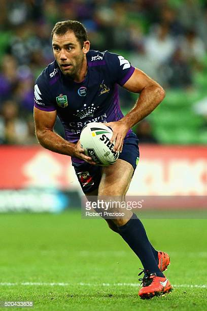 Cameron Smith of the Storm runs during the round six NRL match between the Melbourne Storm and the Canterbury Bulldogs at AAMI Park on April 11 2016...