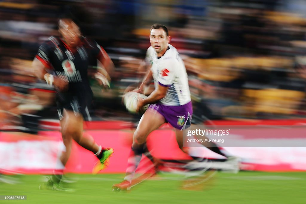 Cameron Smith of the Storm runs the ball during the round 19 NRL match between the New Zealand Warriors and the Melbourne Storm at Mt Smart Stadium on July 22, 2018 in Auckland, New Zealand.
