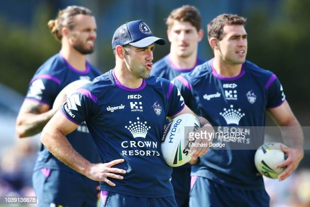 Cameron Smith of the Storm runs with the ball during a Melbourne Storm NRL training session at Gosch's Paddock on September 24 2018 in Melbourne...