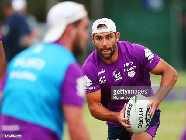Cameron Smith of the Storm runs with the ball during a Melbourne Storm training session at Gosch's Paddock on February 18 2019 in Melbourne Australia