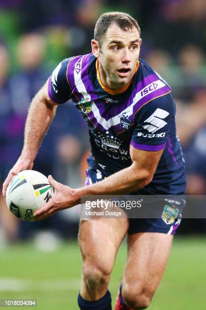 Cameron Smith of the Storm runs with the ball during the round 23 NRL match between the Melbourne Storm and the Parramatta Eels at AAMI Park on...