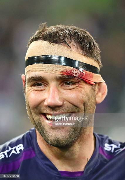Cameron Smith of the Storm smiles after winning the NRL Qualifying Final match between the Melbourne Storm and the North Queensland Cowboys at AAMI...