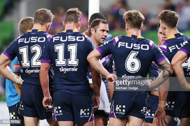 Cameron Smith of the Storm speaks to teammates after conceding a try during the round three NRL match between the Melbourne Storm and the North...