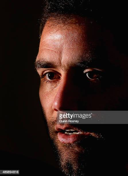 Cameron Smith of the Storm speaks to the media during a Melbourne Storm NRL media session at AAMI Park on September 25 2015 in Melbourne Australia