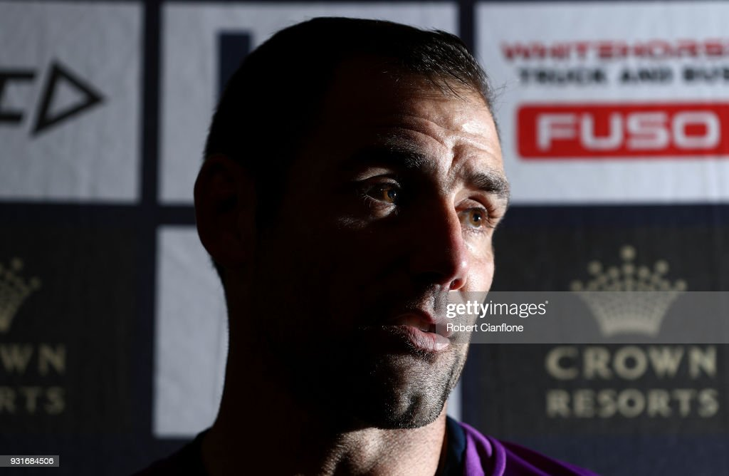 Cameron Smith of the Storm speaks to the media during a Melbourne Storm NRL Media Opportunity at AAMI Park on March 14, 2018 in Melbourne, Australia.