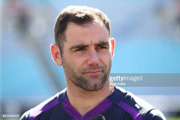 Cameron Smith of the Storm speaks to the media during the 2017 NRL Finals Series Launch at ANZ Stadium on September 4 2017 in Sydney Australia