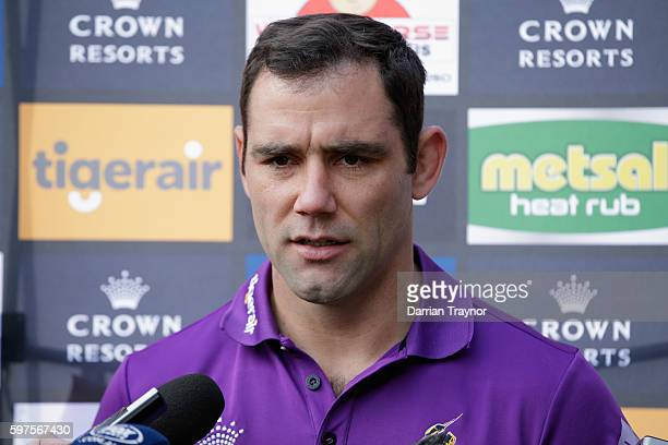 Cameron Smith of the Storm speaks with the media during a Melbourne Storm NRL media opportunity at Melbourne Cricket Ground on August 29 2016 in...