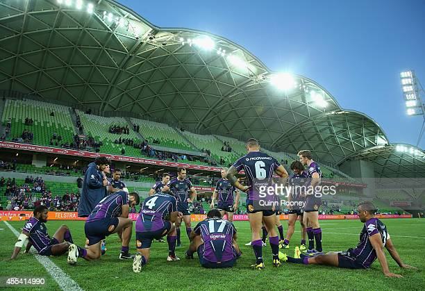 Cameron Smith of the Storm talks to his players after losing the NRL 2nd Elimination Final match between the Melbourne Storm and the Canterbury...