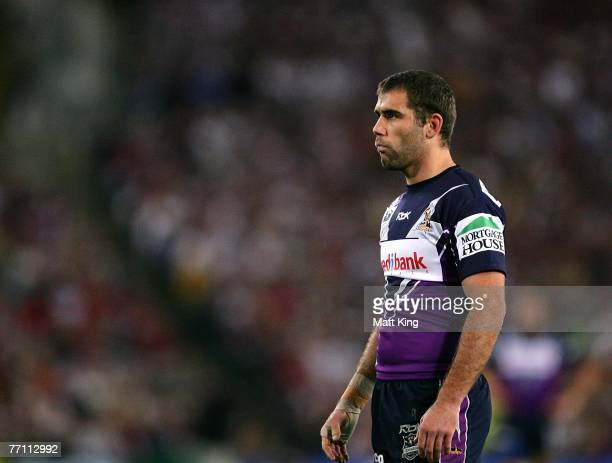 Cameron Smith of the Storm waits for kickoff during the NRL Grand Final match between the Melbourne Storm and the Manly Warringah Sea Eagles at...