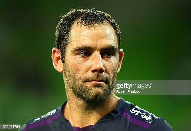 Cameron Smith of the Storm walks off after a loss during the round six NRL match between the Melbourne Storm and the Canterbury Bulldogs at AAMI Park...