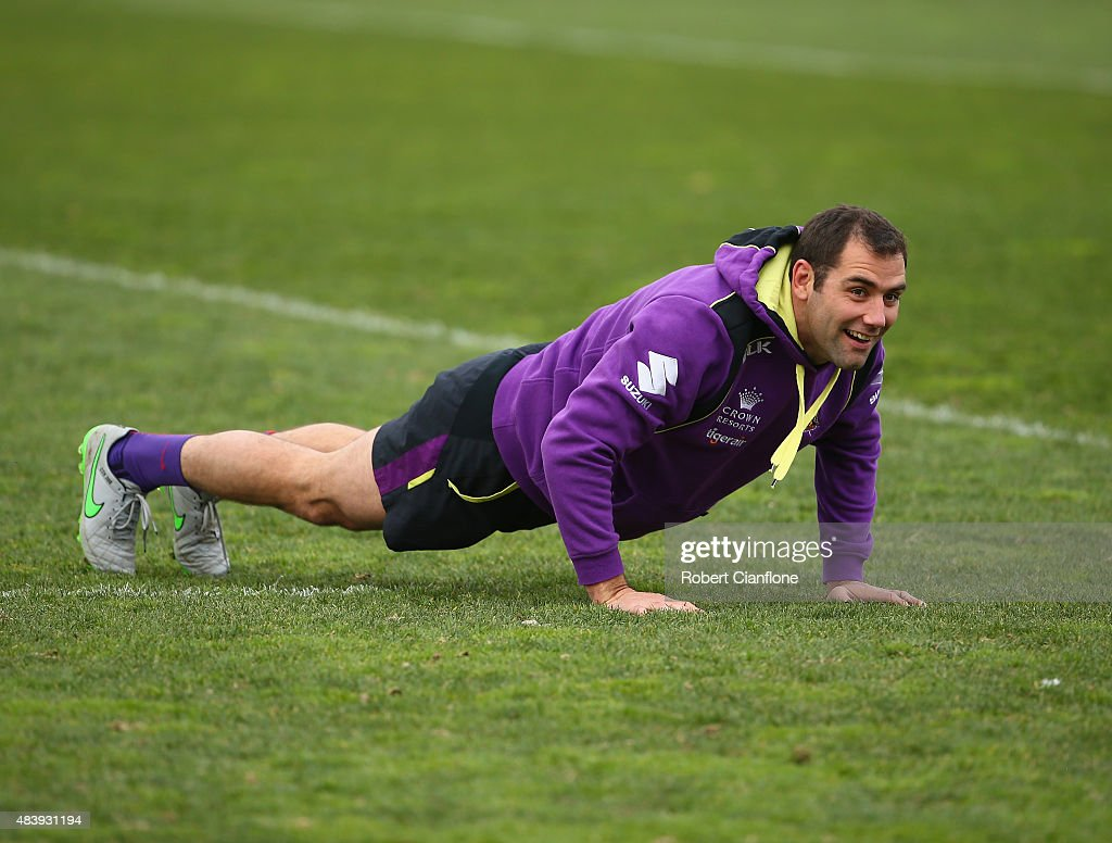Cameron Smith of the Storm warms up during a Melbourne Storm NRL training session at Gosch's Paddock on August 14, 2015 in Melbourne, Australia.