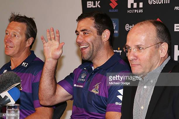 Cameron Smith of the Storm who has signed a four year contract extension and breaks the game record for a Storm player this weekend waves to his kids...