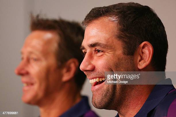 Cameron Smith of the Storm who has signed a four year contract extension and breaks the game record for a Storm player this weekend reacts next to...
