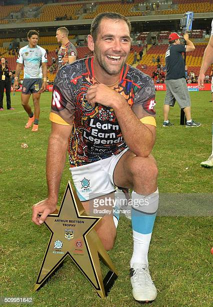 Cameron Smith of the World All Stars is seen enjoying his teams victory after the NRL match between the Indigenous AllStars and the World AllStars at...