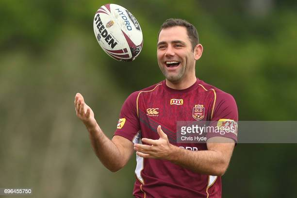Cameron Smith passes during a Queensland Maroons State of Origin training session at Intercontinental Sanctuary Cove Resort on June 16 2017 in...