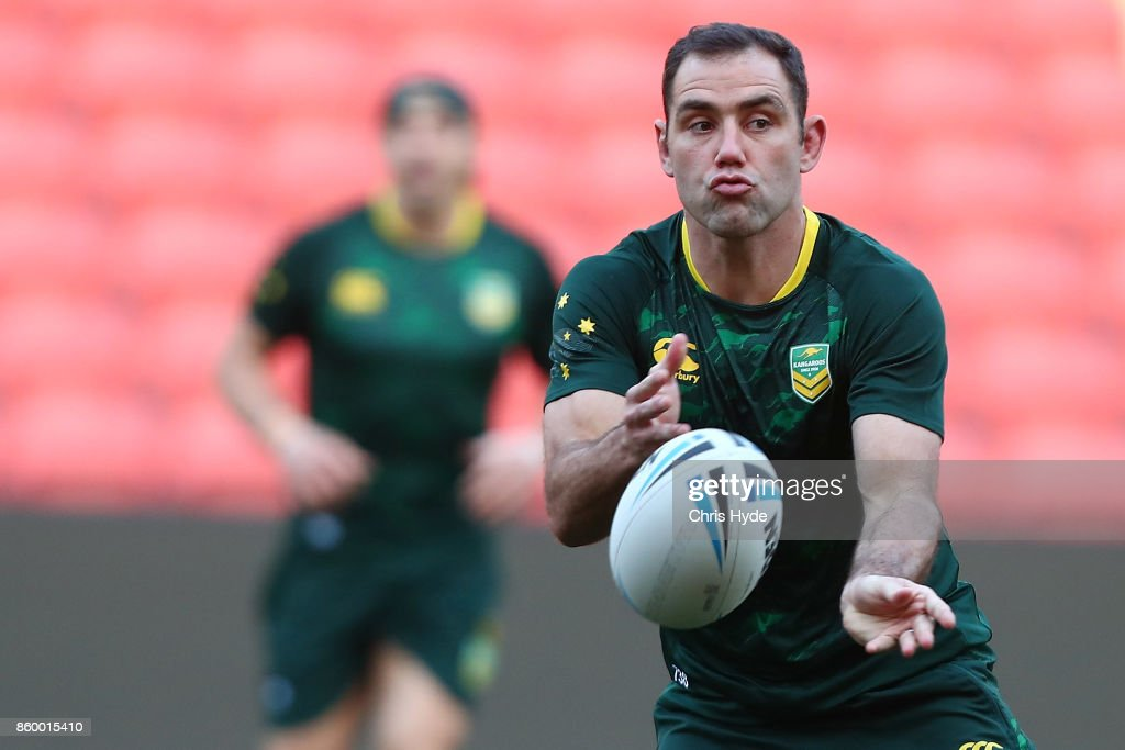 Cameron Smith passes during an Australian Kangaroos Rugby League World Cup training session at Suncorp Stadium on October 11, 2017 in Brisbane, Australia.
