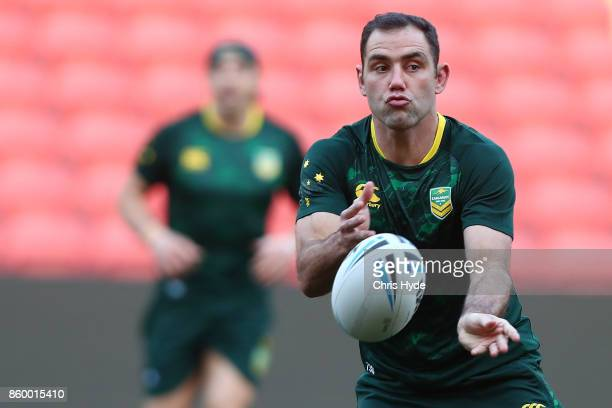 Cameron Smith passes during an Australian Kangaroos Rugby League World Cup training session at Suncorp Stadium on October 11 2017 in Brisbane...