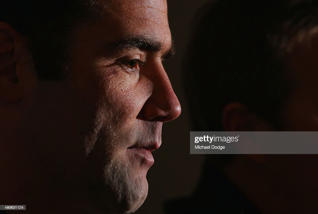 Cameron Smith, playing his 300th game on the weekend, speaks to the media during a Melbourne Storm NRL media opportunity at AAMI Park on July 14, 2015 in Melbourne, Australia.