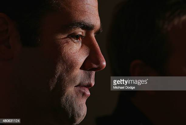Cameron Smith playing his 300th game on the weekend speaks to the media during a Melbourne Storm NRL media opportunity at AAMI Park on July 14 2015...