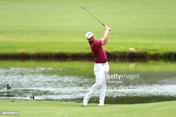 Cameron Smith plays a shot during day four of the 2017 Australian PGA Championship at Royal Pines Resort on December 3 2017 in Gold Coast Australia