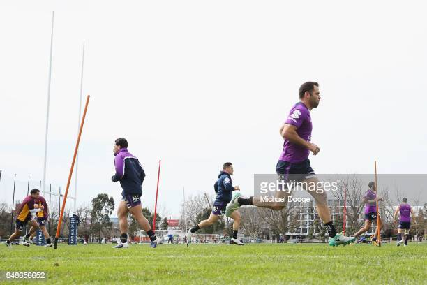 Cameron Smith poses during a Melbourne Storm NRL training session at AAMI Park on September 18 2017 in Melbourne Australia