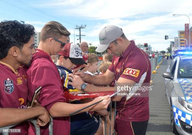 Cameron Smith sign autographs for fans during a Queensland Maroons State of Origin fan day on June 14 2017 in Mackay Australia