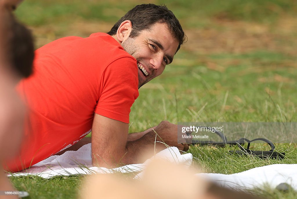 Cameron Smith smiles during an Australian Kangaroos training session at Coogee Beach on April 15, 2013 in Sydney, Australia.
