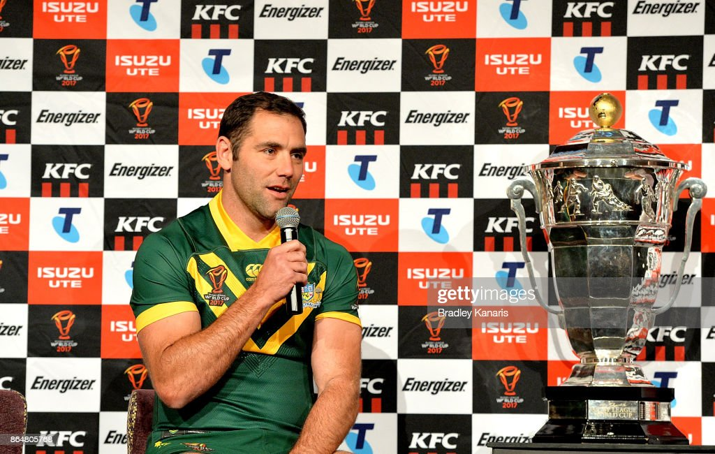Cameron Smith speaks during a Rugby League World Cup media opportunity at Sofitel Brisbane on October 22, 2017 in Brisbane, Australia.