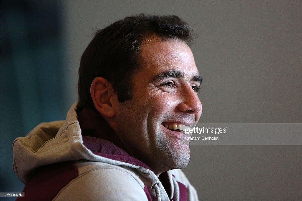 Cameron Smith talks to the media during the Queensland Maroons State of Origin team announcement at Melbourne Cricket Ground on June 9, 2015 in Melbourne, Australia.