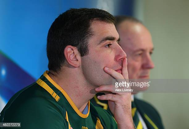 Cameron Smith the captain of Australia faces the media during the Rugby League World Cup Final press conference at Old Trafford on November 27 2013...