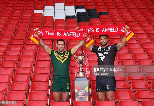 Cameron Smith the captain of Australian Kangaroos and Jesse Bromwich the captain of New Zealand Kiwis pose in the Kop Stand at Anfield during a...