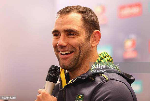 Cameron Smith the captain of Australian Kangaroos during a press conference at the Four Nations Final media day ahead of Four Nations Final between...