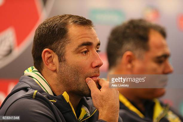 Cameron Smith the captain of Australian Kangaroos sits alongside his coach Mal Meninga during a press conference at the Four Nations Final media day...