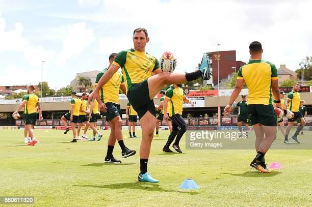 Cameron Smith warms up during the Australian Kangaroos Rugby League World Cup training session at Langlands Park on November 28 2017 in Brisbane...