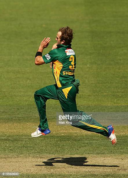 Cameron Stevenson of the Tigers bowls during the Matador BBQs One Day Cup match between South Australia and Tasmania at Hurstville Oval on October 19...