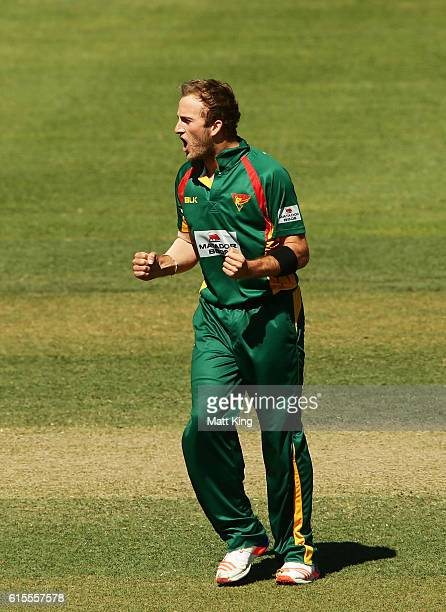 Cameron Stevenson of the Tigers celebrates taking the wicket of Jake Weathered of the Redbacks during the Matador BBQs One Day Cup match between...