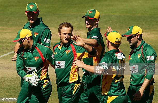 Cameron Stevenson of the Tigers celebrates with team mates after taking the wicket of Jake Weathered of the Redbacks during the Matador BBQs One Day...