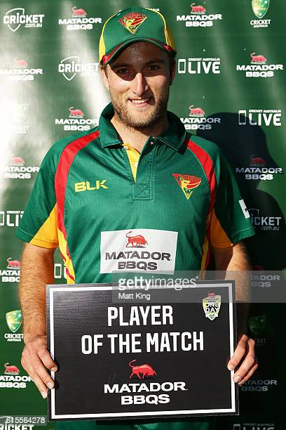 Cameron Stevenson of the Tigers poses with the player of the match award during the Matador BBQs One Day Cup match between South Australia and...