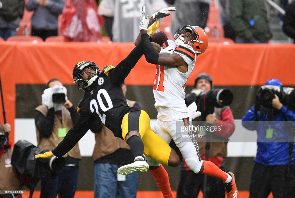 Cameron Sutton #20 of the Pittsburgh Steelers breaks up a pass intended for Rashard Higgins #81 of the Cleveland Browns during the fourth quarter at FirstEnergy Stadium on September 9, 2018 in Cleveland, Ohio.