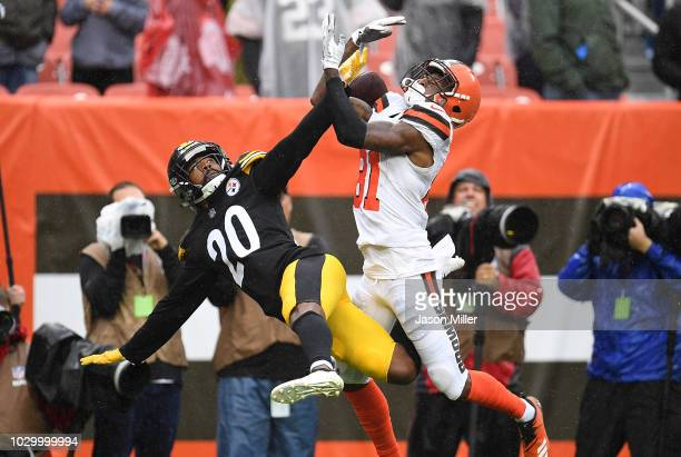 Cameron Sutton of the Pittsburgh Steelers breaks up a pass intended for Rashard Higgins of the Cleveland Browns during the fourth quarter at...