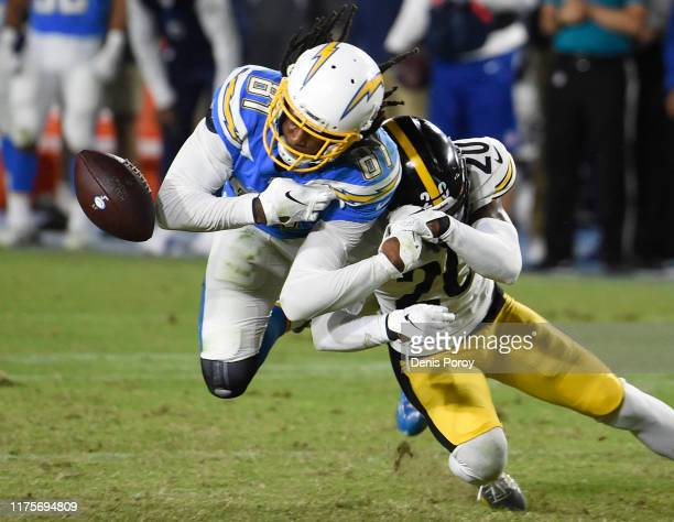 Cameron Sutton of the Pittsburgh Steelers breaks up a pass intended for Mike Williams of the Los Angeles Chargers during the fourth quarter at...