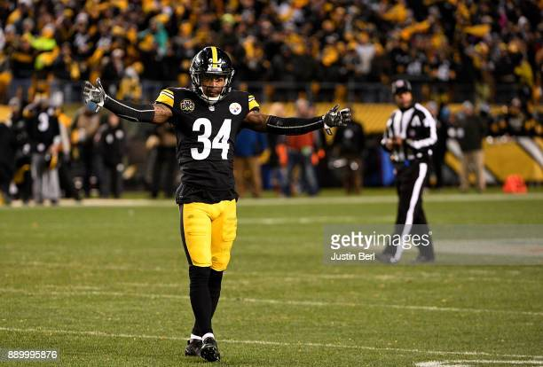 Cameron Sutton of the Pittsburgh Steelers tries to pump up the crowd in the fourth quarter during the game against the Baltimore Ravens at Heinz...