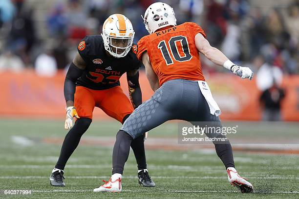 Cameron Sutton of the South team defends Cooper Kupp of the North team during the Reese's Senior Bowl at the LaddPeebles Stadium on January 28 2017...
