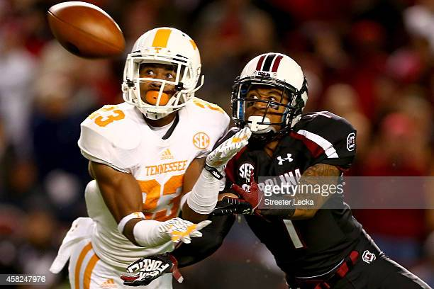 Cameron Sutton of the Tennessee Volunteers breaks up a pass to Damiere Byrd of the South Carolina Gamecocks during their game at WilliamsBrice...