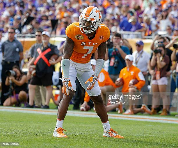 Cameron Sutton of the Tennessee Volunteers defense against the Northwestern Wildcats during the Outback Bowl at Raymond James Stadium on January 1...