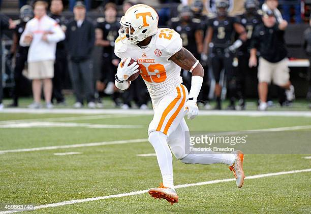 Cameron Sutton of the Tennessee Volunteers runs after making an interception against the Vanderbilt Commodores at Vanderbilt Stadium on November 29...