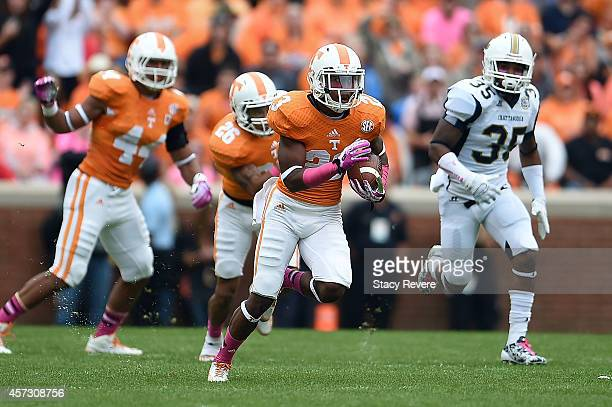 Cameron Sutton of the Tennessee Volunteers runs for yards on a punt return during a game against the Chattanooga Mocs at Neyland Stadium on October...